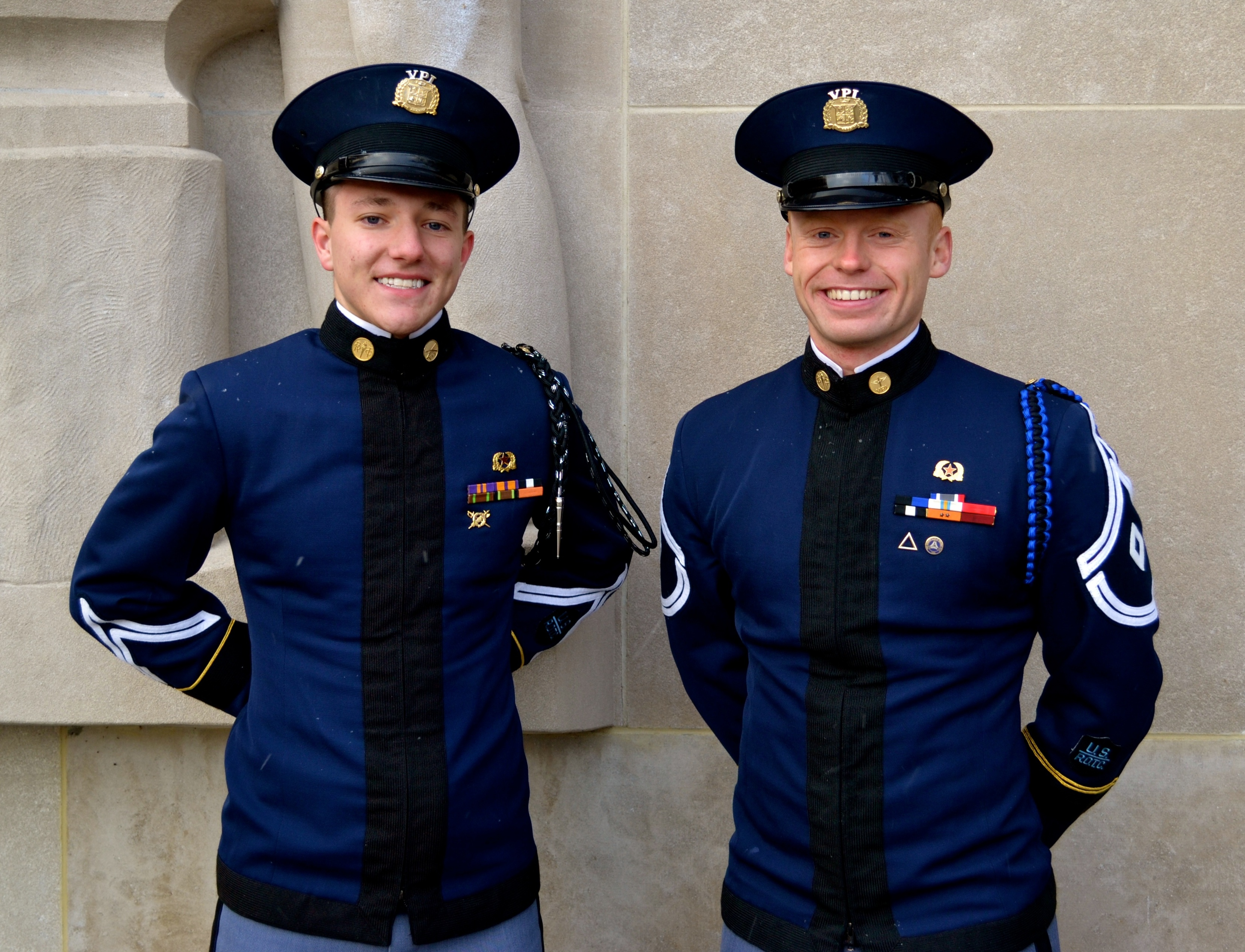 From left to right in front of the Pylons are Cadet Hunter Garth and Cadet Garrett Treaster.