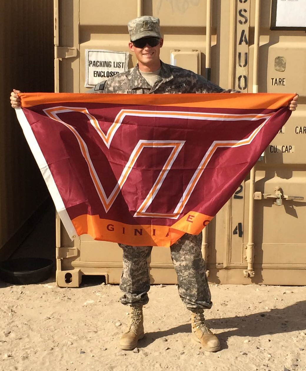 2nd Lt. Andy Kress, U.S. Army, Virginia Tech Corps of Cadets Class of 2013 in Kuwait.