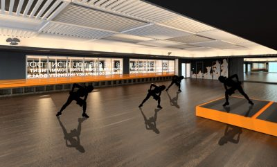 Digital rendering of women weight training in a fitness studio with dark floors and ceiling.
