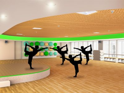 A digital rendering on women practicing yoga in a fitness studio with blonde wood floors and ceiling.
