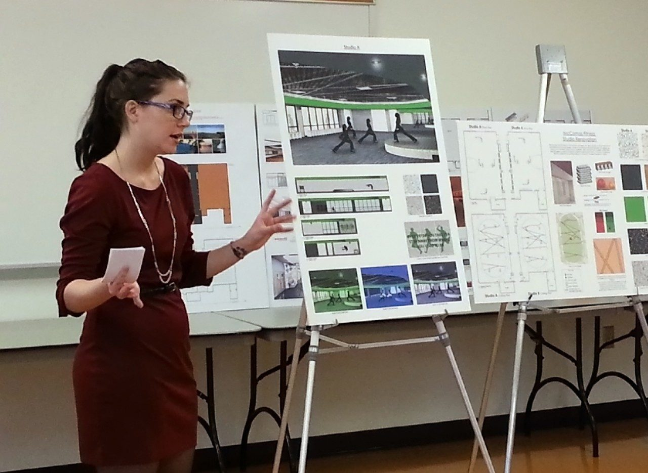 Interior design student Lyndsay Digman presents her design concepts for the fitness studios in McComas Hall