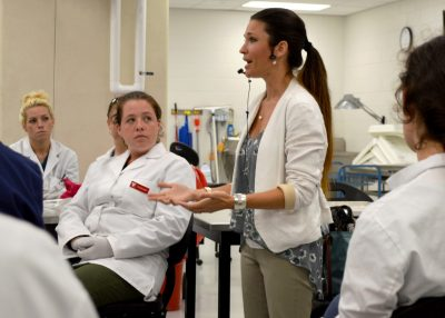 Dr. Dani McVety speaks at vet school