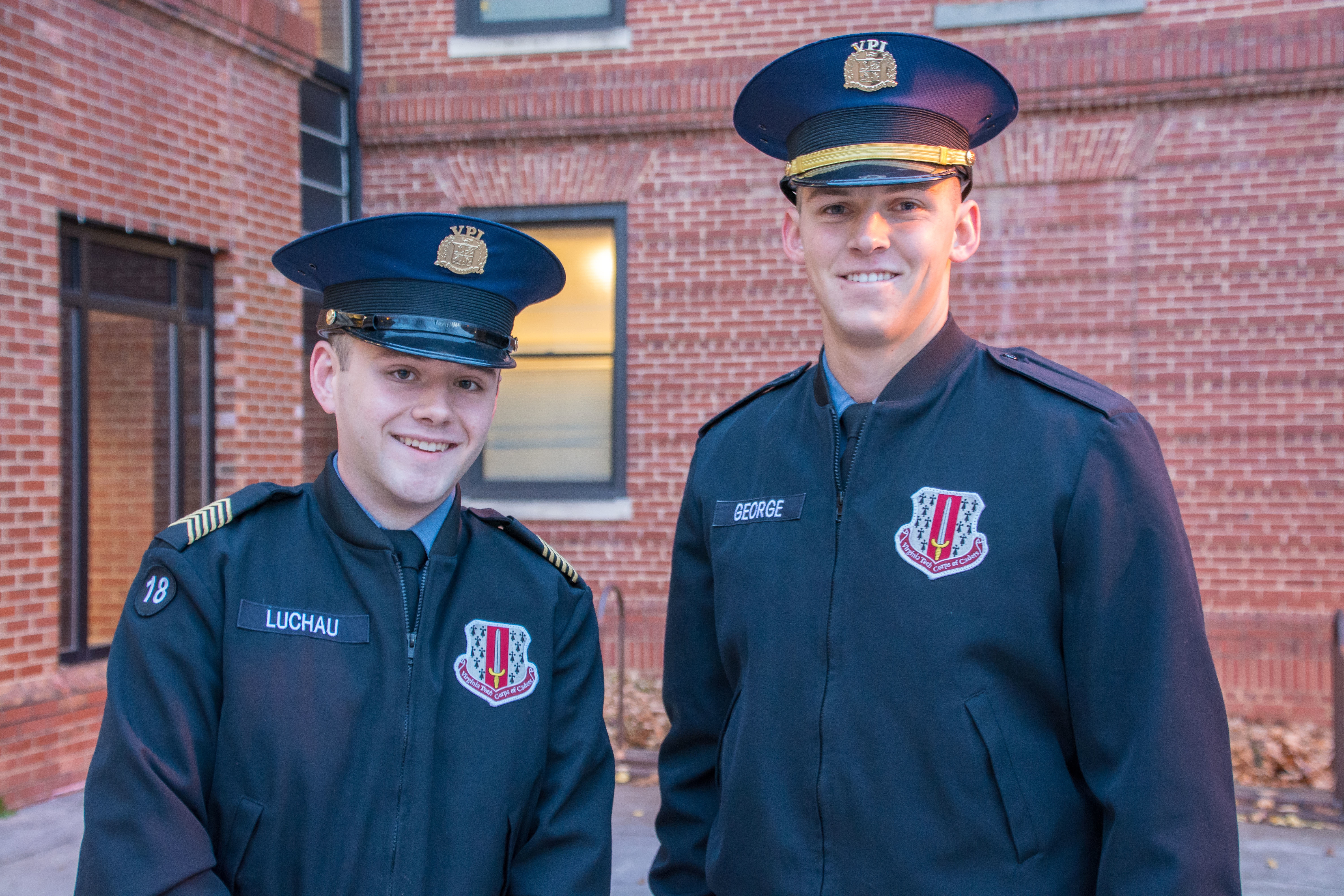 From left to right are Cadet Donald Luchau and Cadet Andrew George on teh Upper Quad.