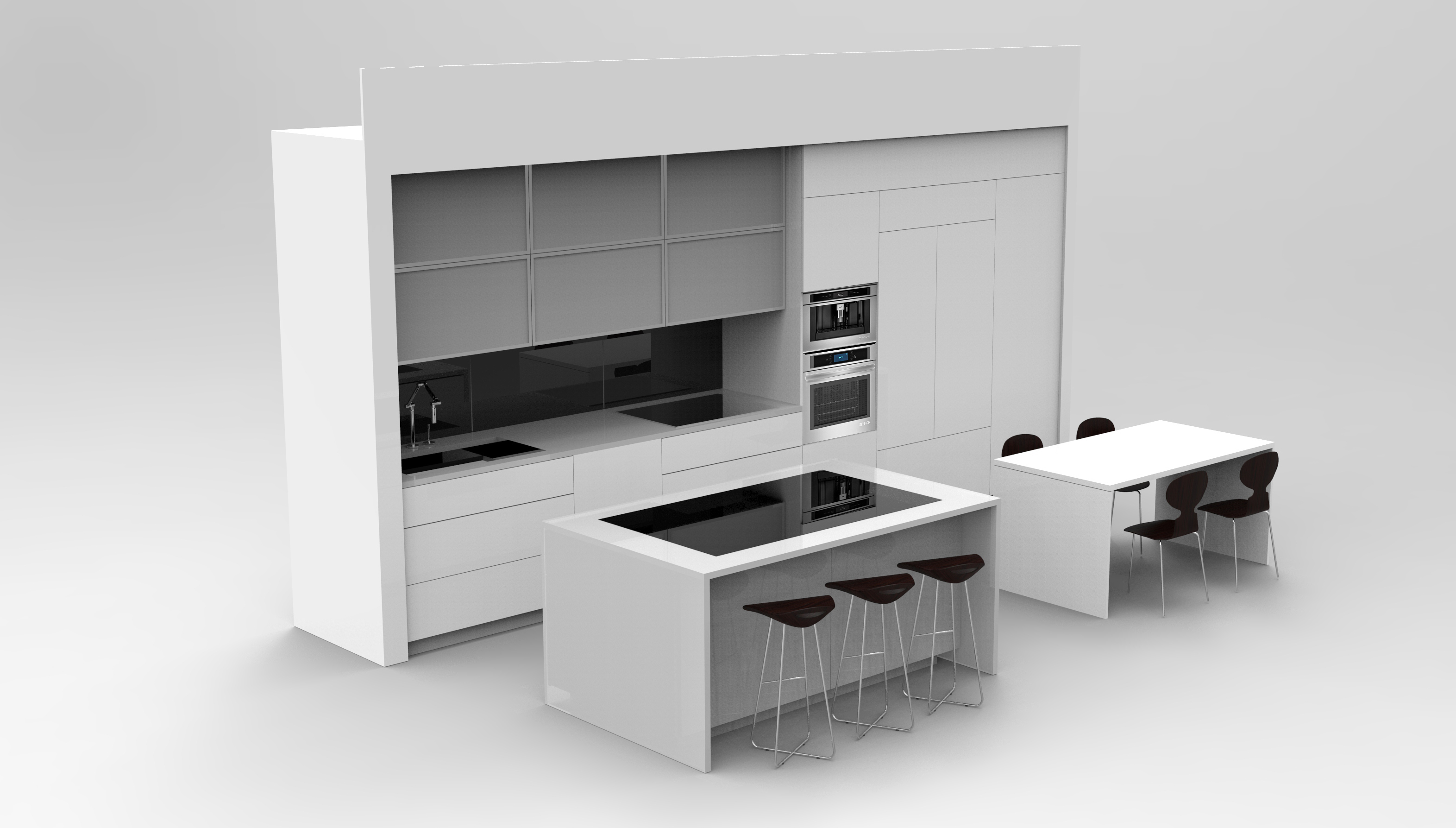 A rendering of a white, modular kitchen.