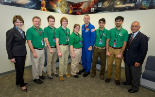 Team ARES members and current Virginia Tech students Christopher Dobyns and Anna Montgomery, fourth and fifth from left, worked with NASA and Lockheed Martin to study space flight radiation exposure.