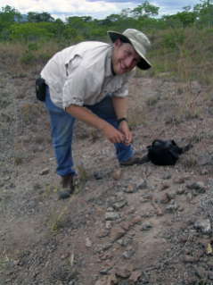 Sterling Nesbitt, assistant professor of geological sciences at Virginia Tech, collects bones in Tanzania from his discovery of the reptile Nundasuchus songeanensis in 2007. (Photo by Dr. Roger Smith, Iziko Museum, South Africa)