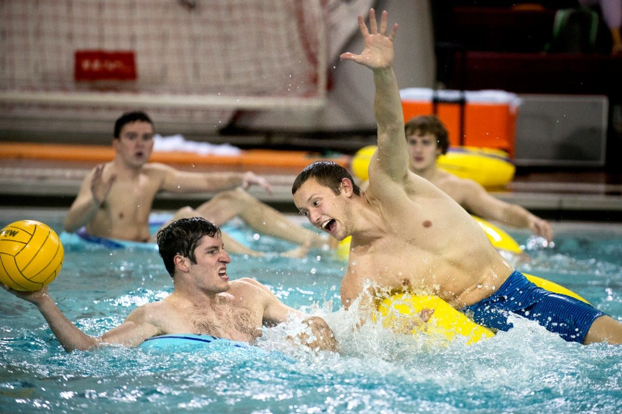 The spring semester brings back innertube water polo, a favorite intramural sport for many students.