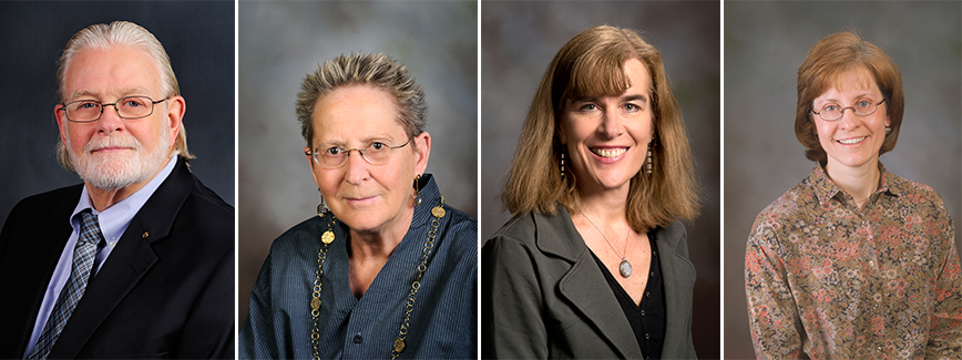 Provost Mark McNamee appointed four faculty members to the Academy of Faculty Service. Left to right: Art Buikema Jr., Virginia Fowler, Susanna Rinehart, and Diane Zahm.
