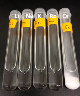 These test tubes contain dissolved salts that are found in seawater and other contaminated waters: lithium (Li), sodium (Na), potassium (K), rubidium (Rb), and cesium (Cs). Only cesium is pulled out of solution by the unique PDC compound being produced by the Japanese-U.S. collaborative research team. Once PDC precipitates the cesium, it can be readily filtered from contaminated waters.