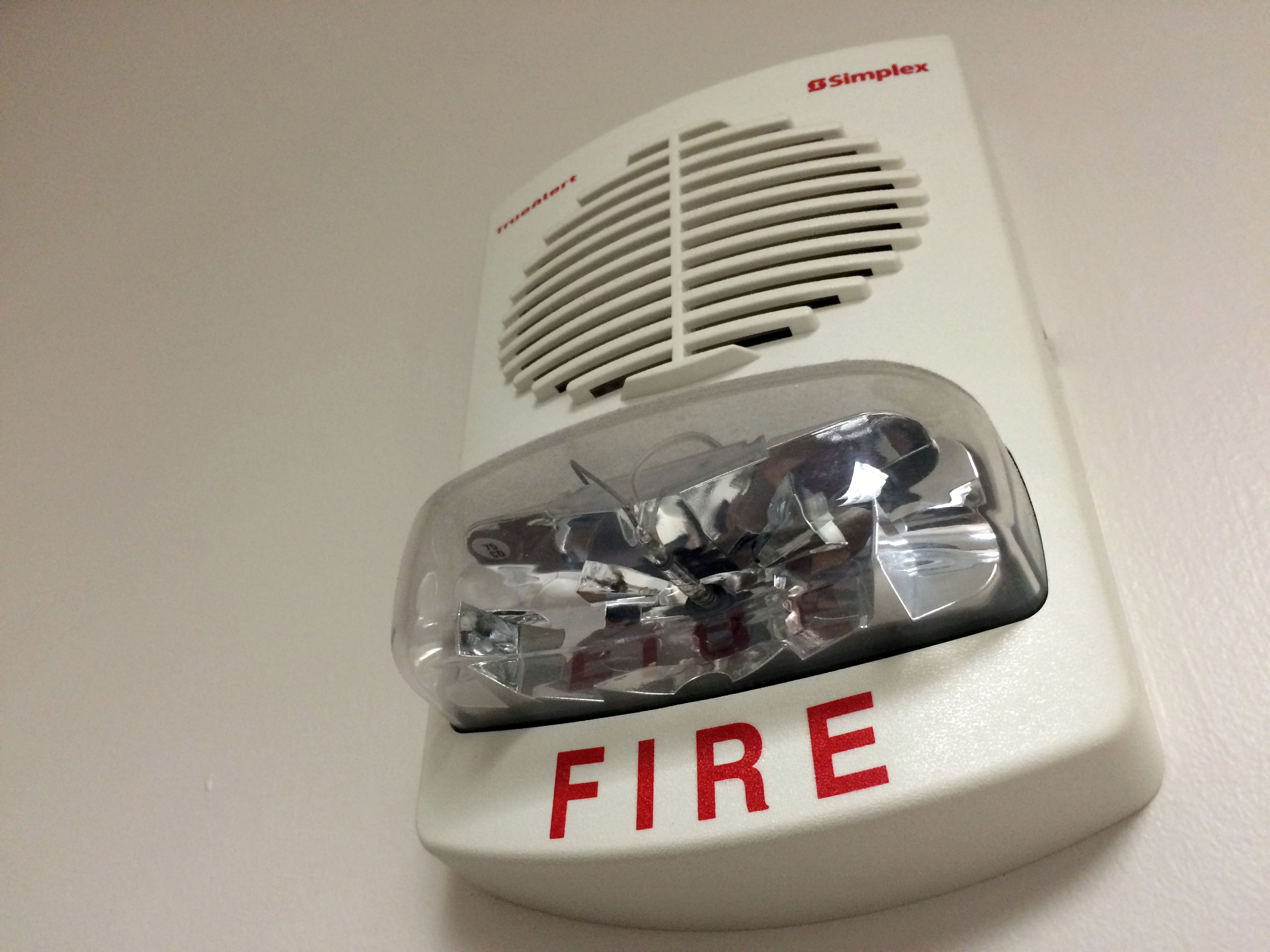 A fire alarm with strobe light