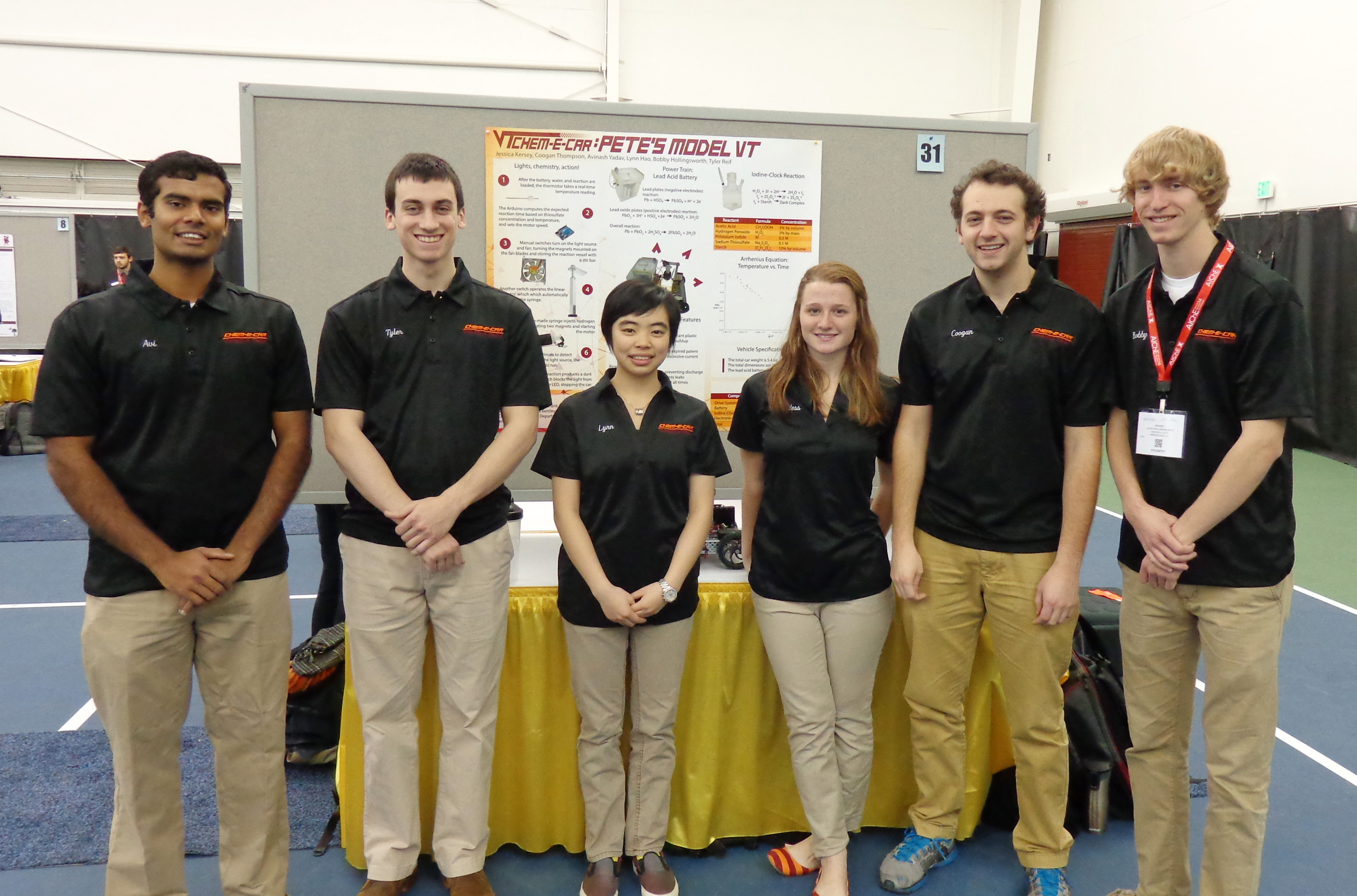 From left to right are the members of the Virginia Tech Chem-E Car Team: Avinash Yadav, Tyler Reif, Yining Hao, Jessica Kersey, Coogan Thompson, and Bobby Hollingsworth.