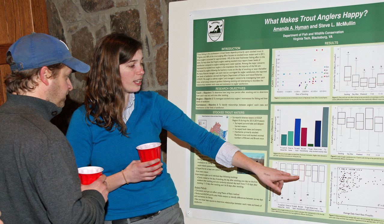 At the poster session during the joint meeting of the Virginia, West Virginia, and Virginia Tech chapters of the American Fisheries Society, master's student Amanda Hyman explains her research on trout anglers.