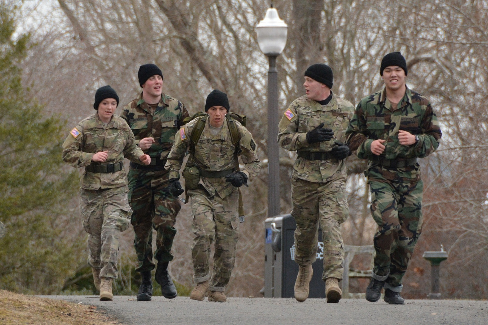 Cadets run from one challenge to the next during annual Corps of Cadets competition.