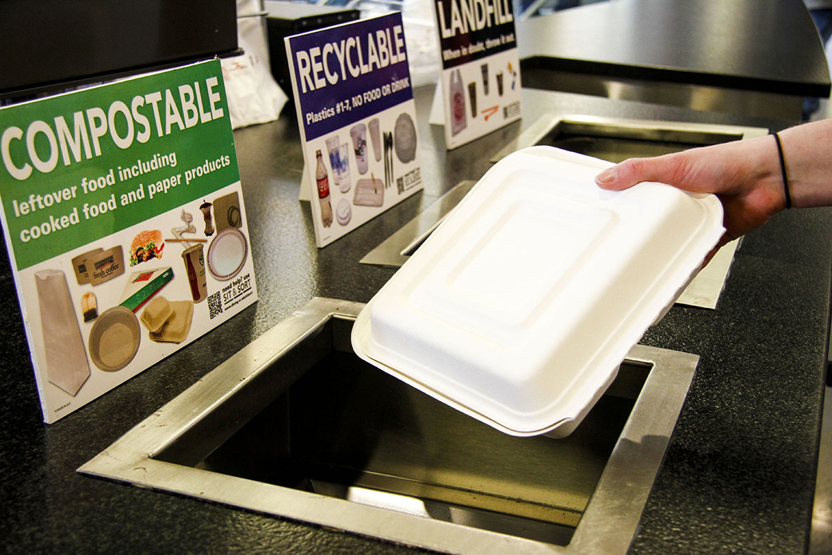 Composting a to-go container