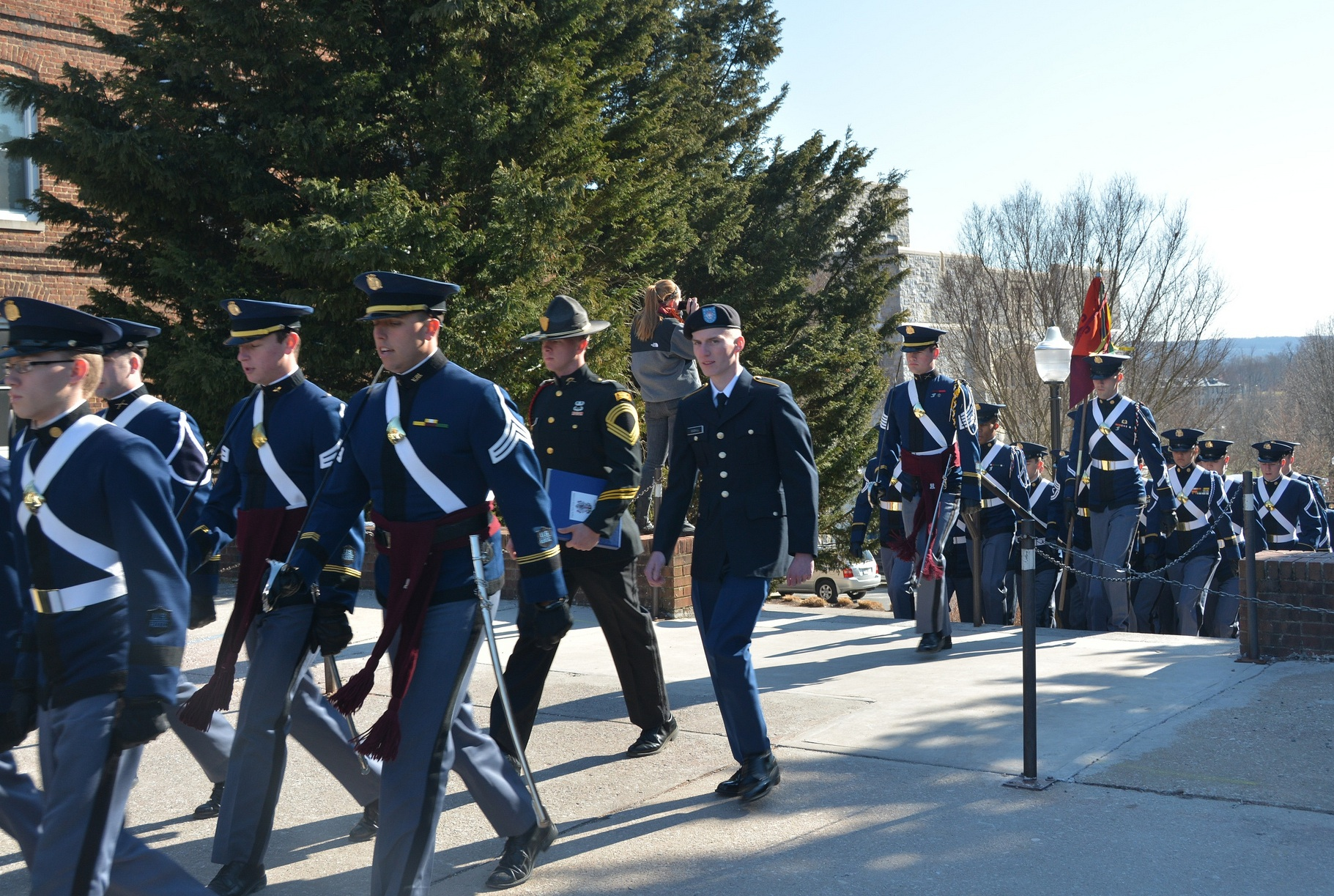 Visiting cadets join members of the Virginia Tech Corps of Cadets as they march to the annual leadership conference formal retreat ceremony on the Upper Quad.