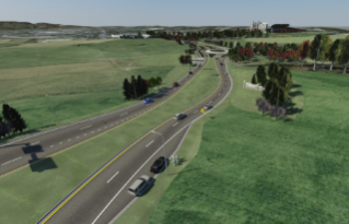 An artist rendering of the new Southgate Drive entrance to campus. The traffic roundabout with Research Center Drive is in the distance.