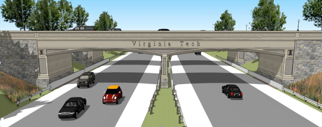 The proposed Southgate interchange bridge showing the Virginia Tech name and shield as seen from Route 460.