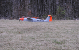 The RS-16 UAS comes in for a landing during testing in rural Virginia on Tuesday, March 17. The aircraft touches down on a skid plate and does not rely on conventional landing gear. Photo by American Aerospace Technologies Inc.