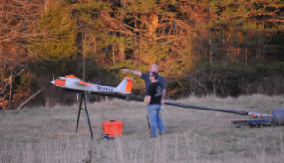 Ground crew members with American Aerospace Technologies Inc. prepare to launch the RS-16 Unmanned Aircraft System to patrol a Colonial Pipeline Company right-of-way during testing in rural Virginia on Tuesday, March 17. The research is overseen by the Mid-Atlantic Aviation Partnership at Virginia Tech and is part of the Pipeline Research Council International's Right Of Way Automated Monitoring (RAM) Project. Photo by American Aerospace Technologies Inc.