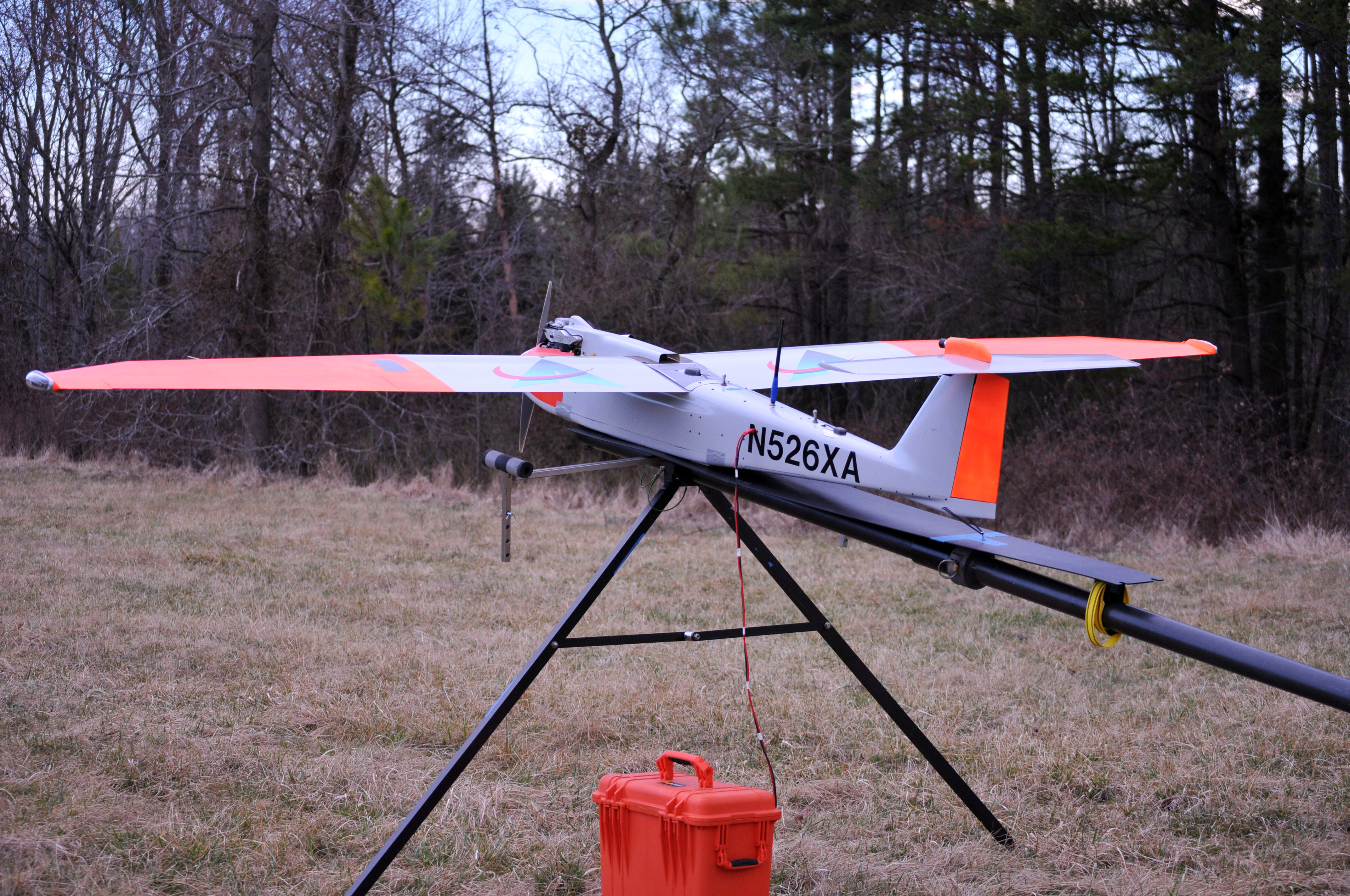 Unmanned aerial vehicle or drone on launch pad