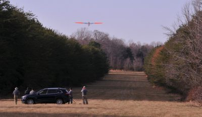 Unmanned aerial vehicle patrols right of way