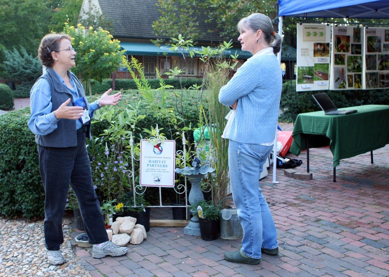 Outreach by Virginia Master Naturalists takes many forms. Volunteers in the Historic Rivers Chapter developed a booth to educate homeowners about landscaping for wildlife. Photo by Felice Bond.