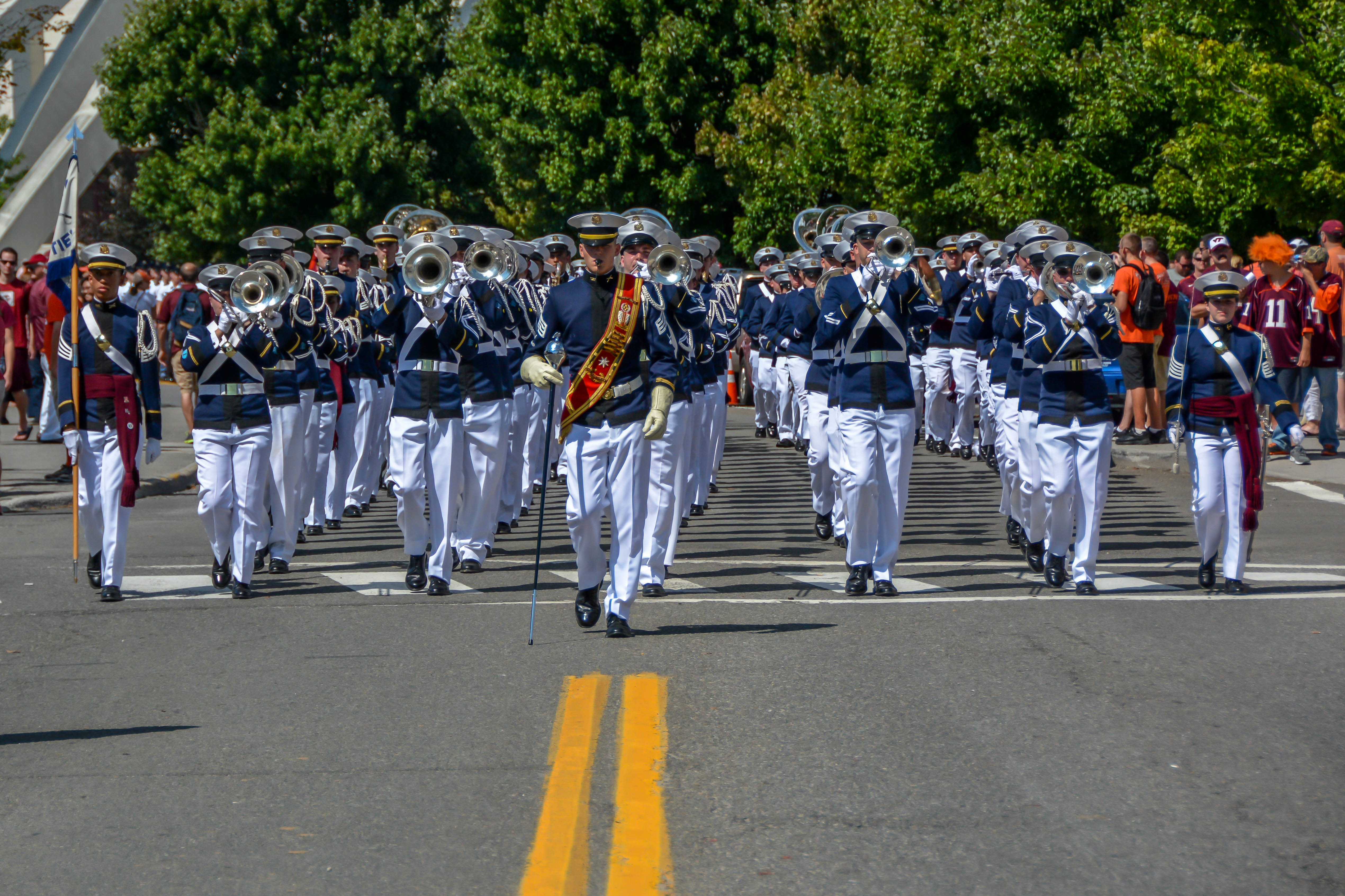 The Highty-Tighties march to Lane Stadium