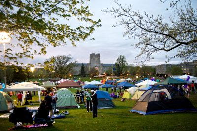 The Drillfield is covered with tents at Relay For Life.