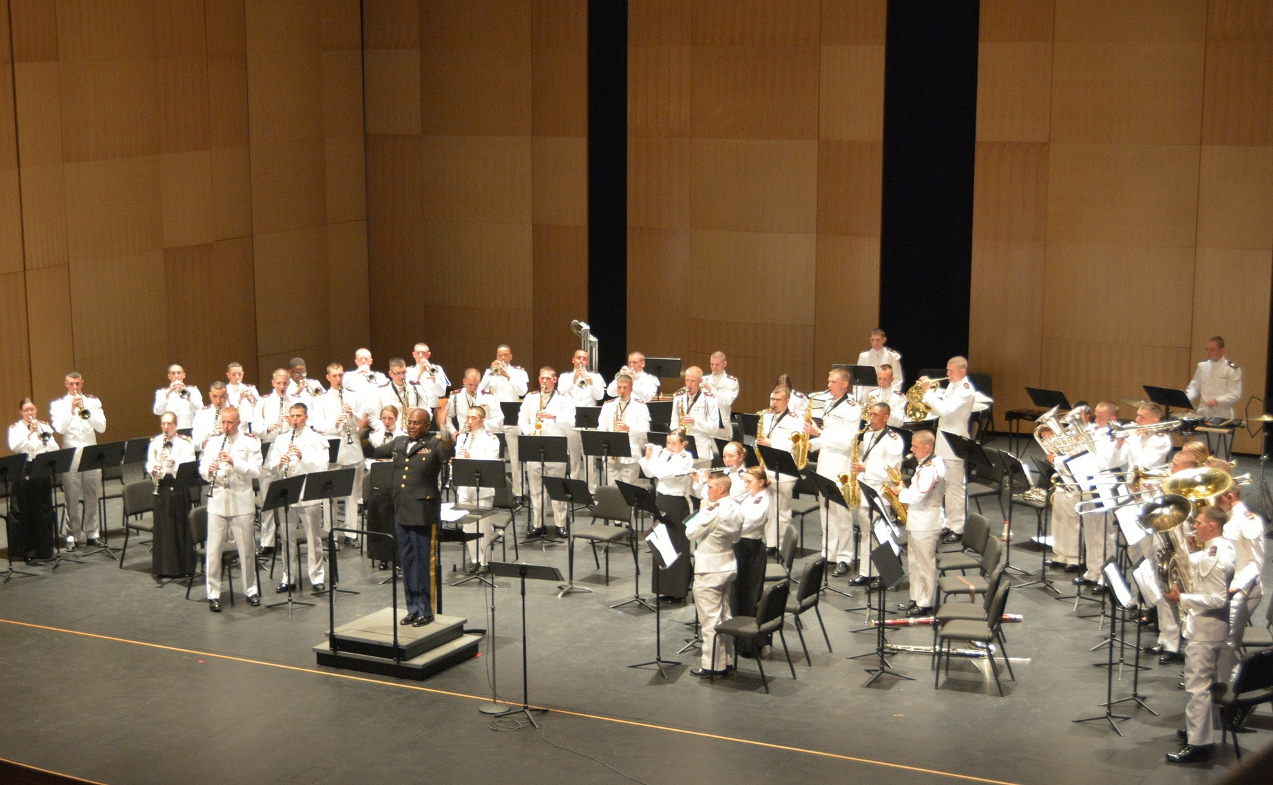 The Concert Band of the Highty-Tighties, the Virginia Tech Corps of Cadets Regimental Band, perform their annual spring concert in the Moss Arts Center.