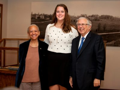 Alexandra Hill (center), shown here with Nikki Giovanni and Charles Steger, won second place in the 2015 Steger Poetry contest.