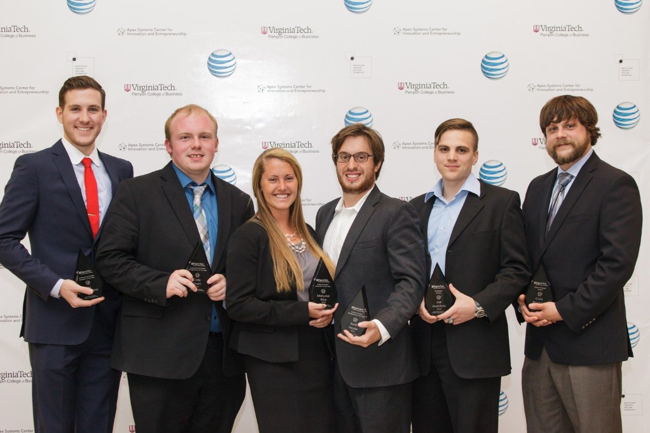 Pictured are the Virginia Tech Innovation and Entrepreneurship Award winners: Sky Van Iderstine, of Annapolis, Maryland; Cody Short, of Farmville, Virginia; M.J. Rice, of Reisterstown, Maryland; Keith Heyde, of Wilton, Connecticut; Joe Acanfora, of Gilbertsville, New York,; and Chris Roland, of Catawba, Virginia.