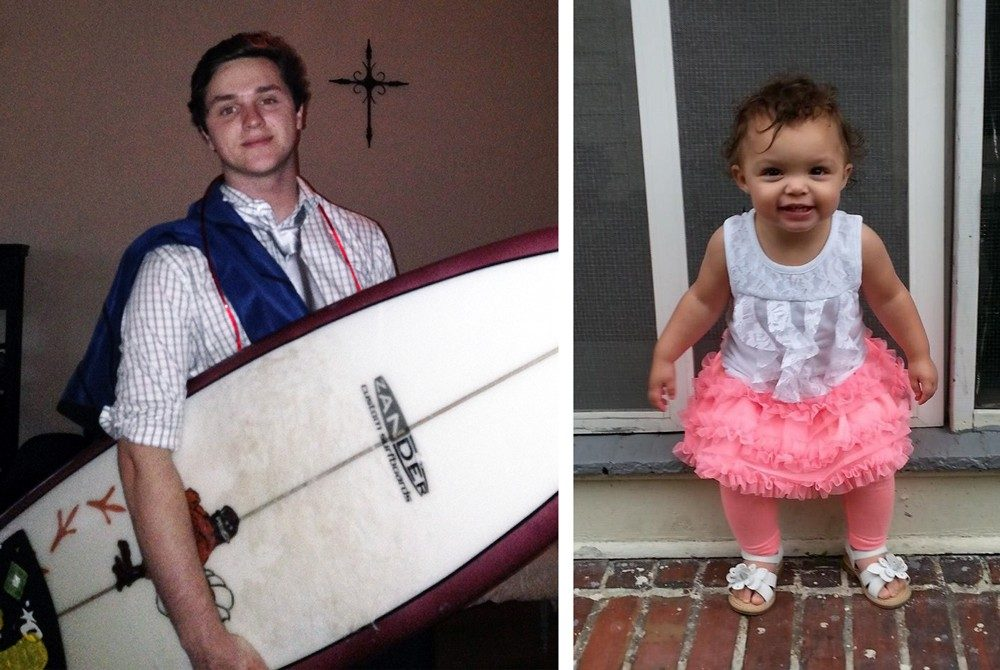 Left: Jade Edwards with his Virginia Tech surf board. Right: His little sister, Laci, who Edwards has legal custody.