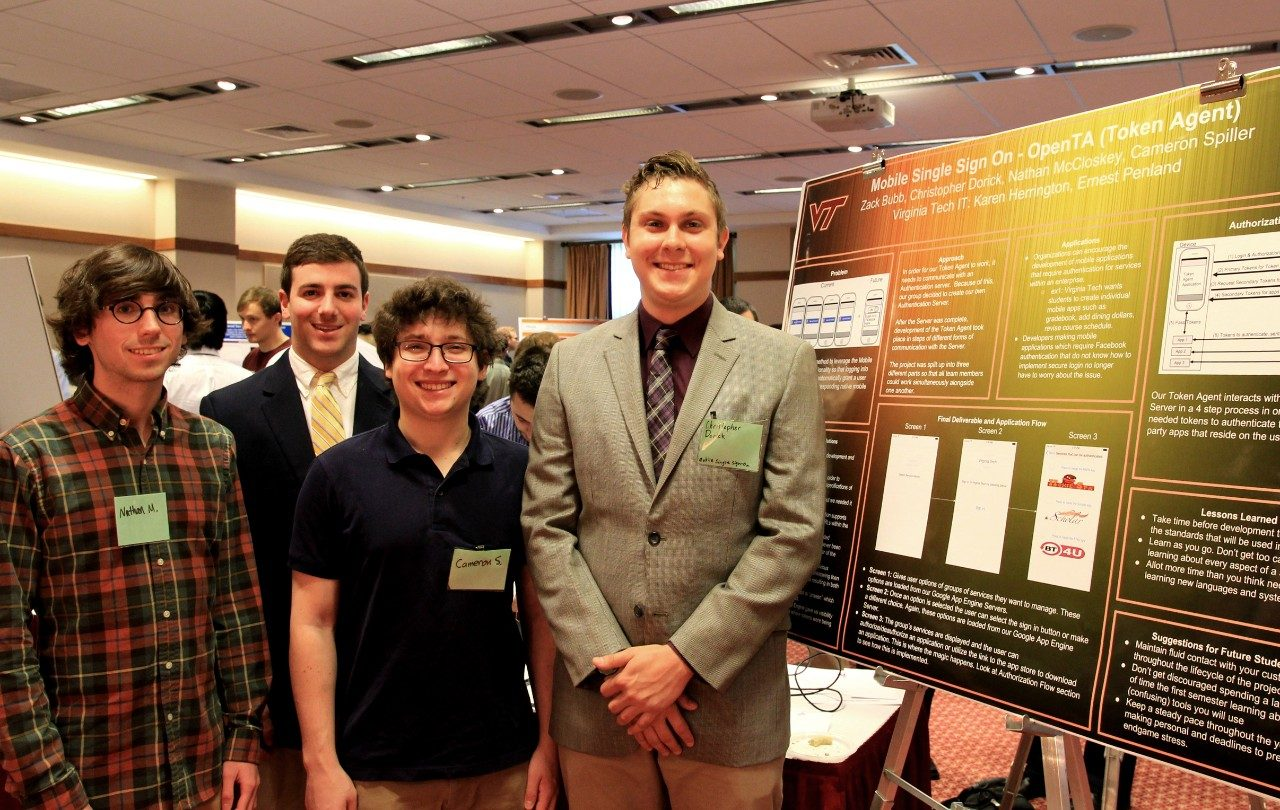 Nathan McCloskey, Zack Bubb, Cameron Spiller, and Christopher Dorick presented their project, a mobile, single sign-on app that they developed over the last two semesters.