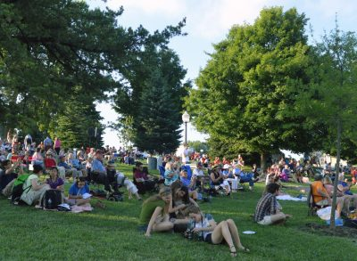 Concert goers enjoy live music on Virginia Tech's Henderson Lawn.