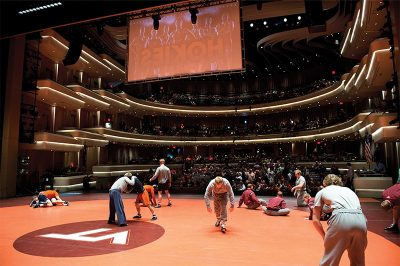 Virginia Tech wrestling onstage in the Moss Arts Center
