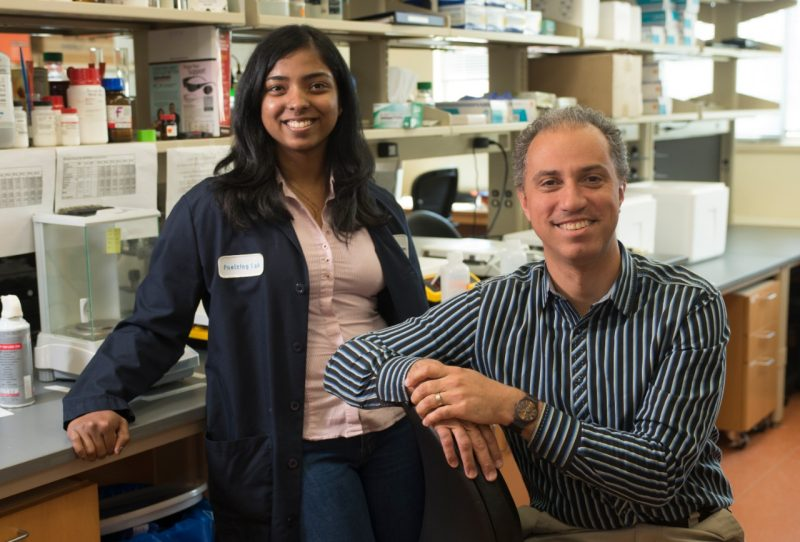 Sharon George stands with her mentor, Steven Poelzing. They discovered the ratio of minerals in a saline solution could drastically affect function in cardiac cells.