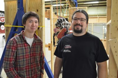 Ben Wright, left, and Felipe Bacim are part of Team ViGIR, headed by Blacksburg-based TORC Robotics. Wright is a recent graduate, and Bacim is a doctoral student in the Department of Computer Science.