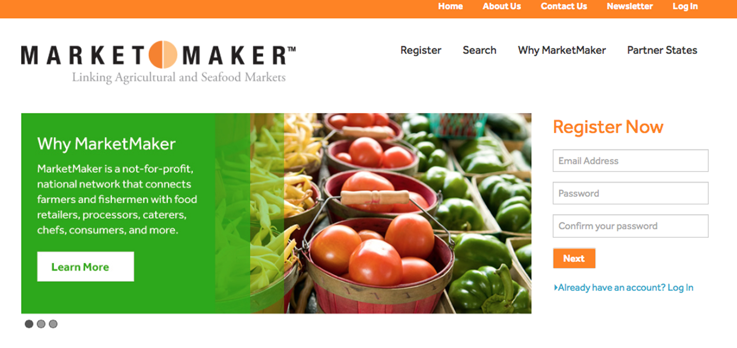 Screen shot of Market Maker website