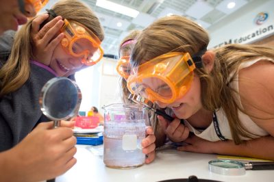Elementary school students enjoy a science lesson during the 2014 VISTA teacher training at Virginia Tech.