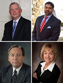 "Clockwise from top left: Charles ""C.T."" Hill, Mehmood Kazmi, Deborah Petrine, and Minnis Ridenour"