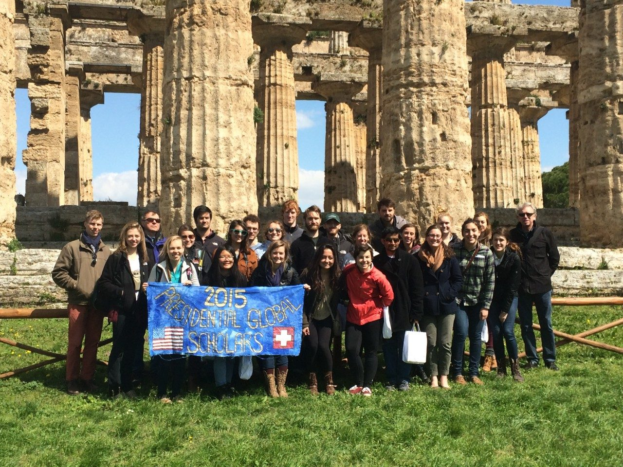 The group of University Honors students and faculty were based in Riva San Vitale, Switzerland for the spring 2015 semester, but traveled to a variety of places including Paestum in Campania, Italy.
