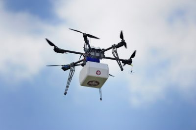 The Flirtey drone lowered the package of medical supplies via tether after arriving at the fairgrounds.