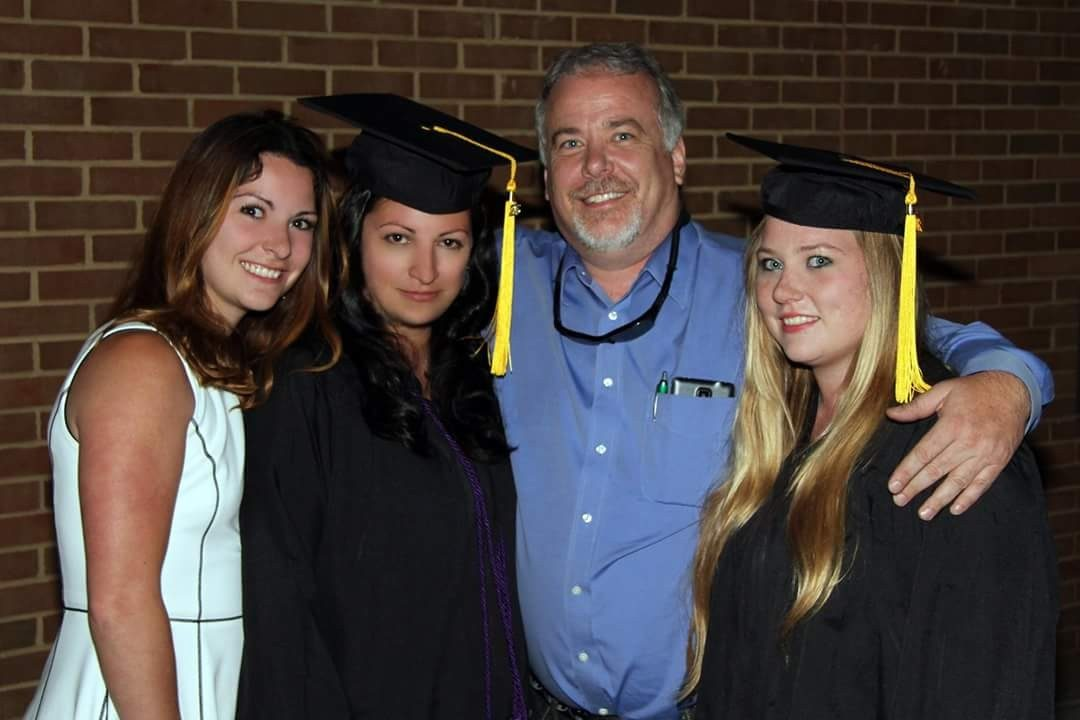 Chantelle Guest, second from left, graduated from New River Community College with one of her daughters this spring. Her other daughter and husband celebrated both of their achievements.
