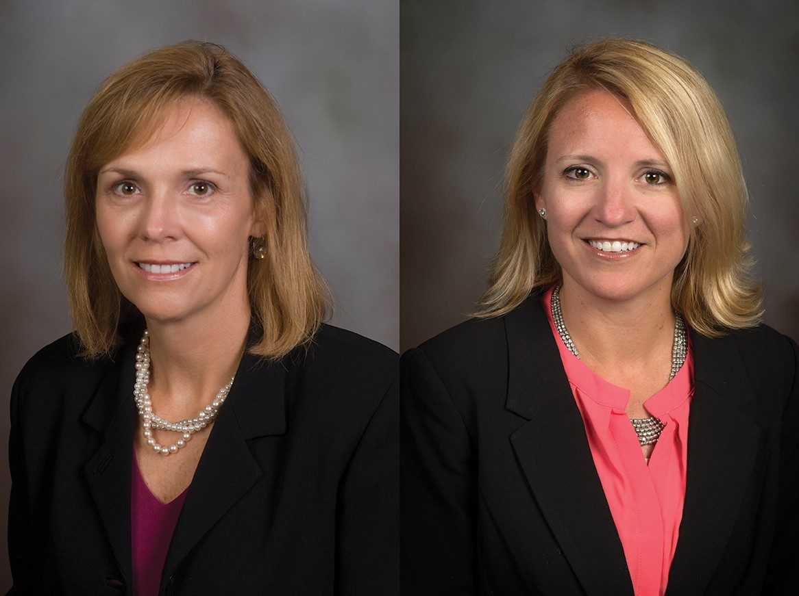 From left, Penny Helms White is interim director of New Student and Family Programs and Ali Cross is interim director of Recreational Sports.