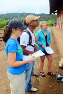 From left, Virginia Tech faculty member Alisha Farris, translator Claudien Razafiarimanana, and SURF student Keely O'Keefe conduct nutrition surveys in Madagascar. Photo by Hailey Boone.