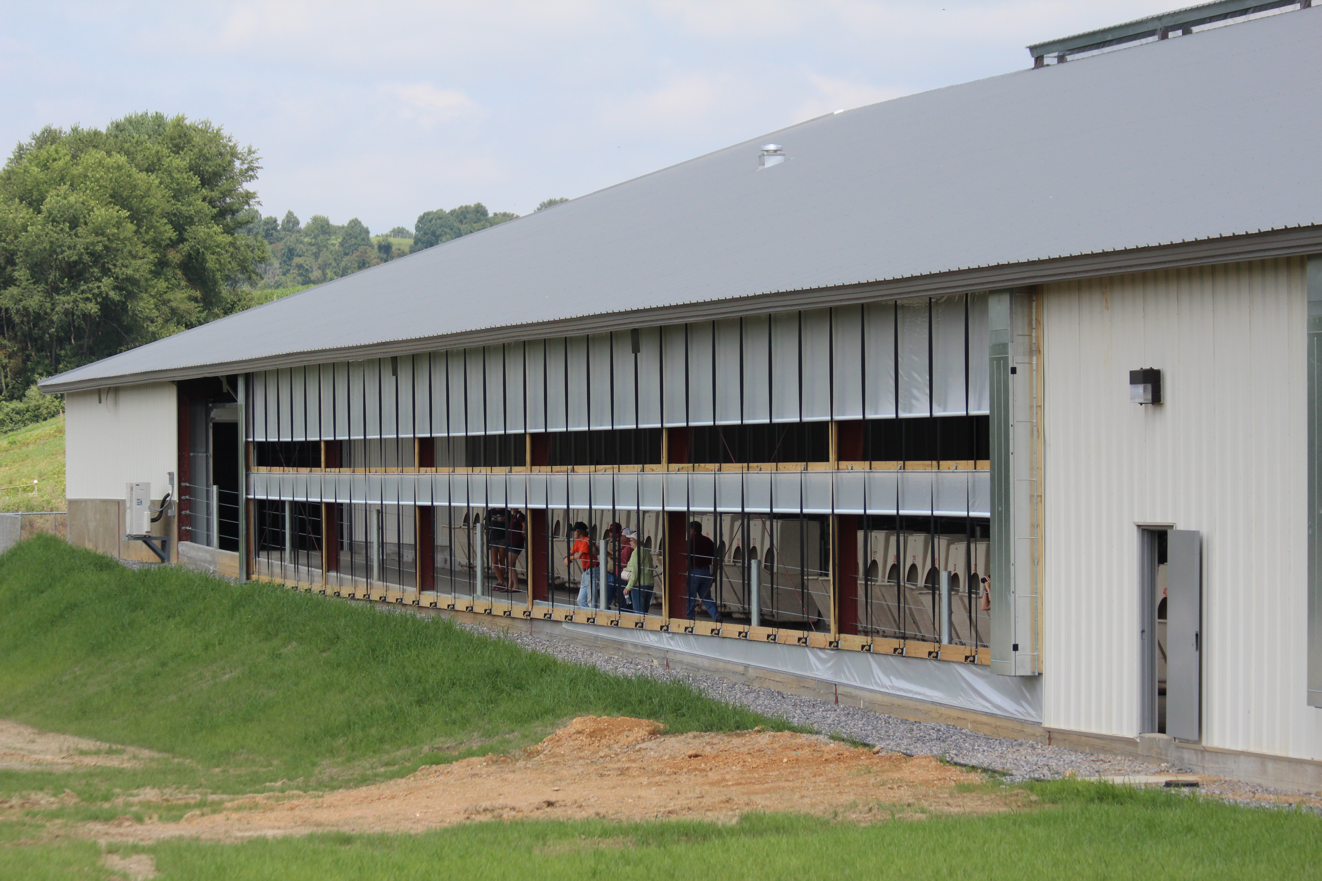People tour a dairy barn lined with troughs.