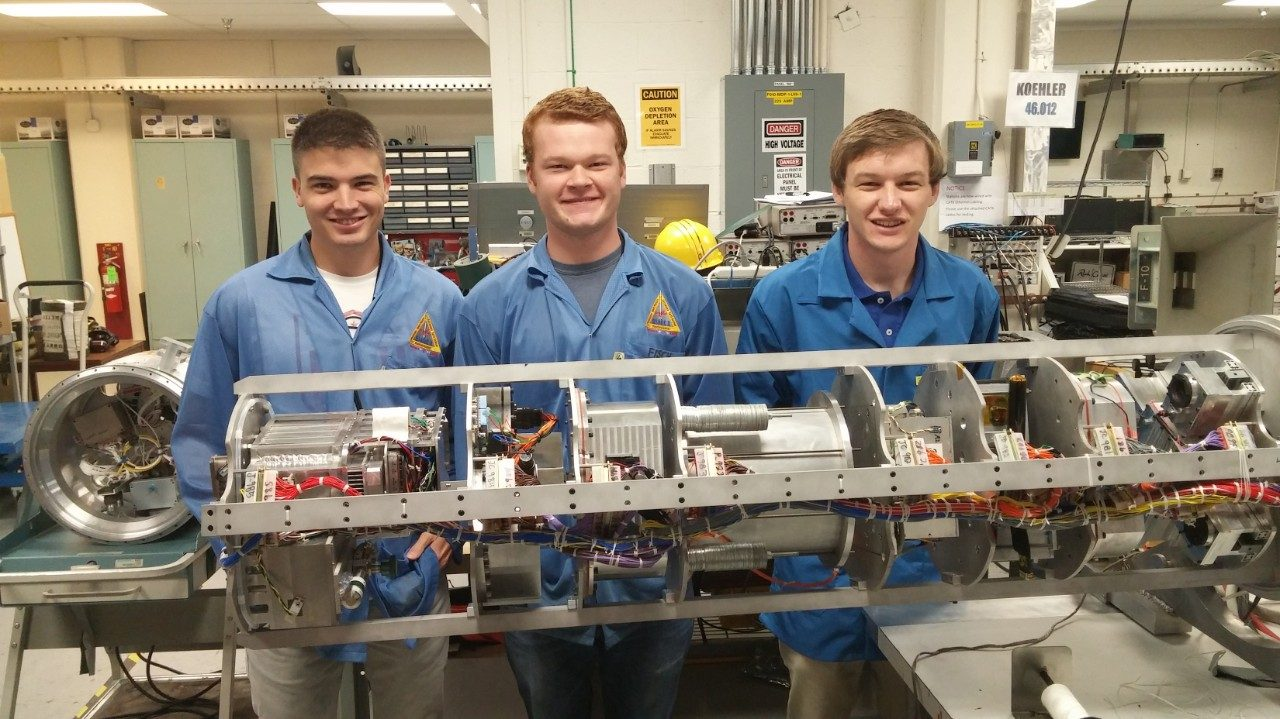 Virginia Tech's RockSat-X team includes (left to right) Seth Austin, Sebastian Welsh, and John Mulvaney, all of the College of Engineering. The team, comprised of 20 students, will launch a self-designed and built 3-D printer into suborbital space on August 11 from NASA's Wallops Flight Facility.