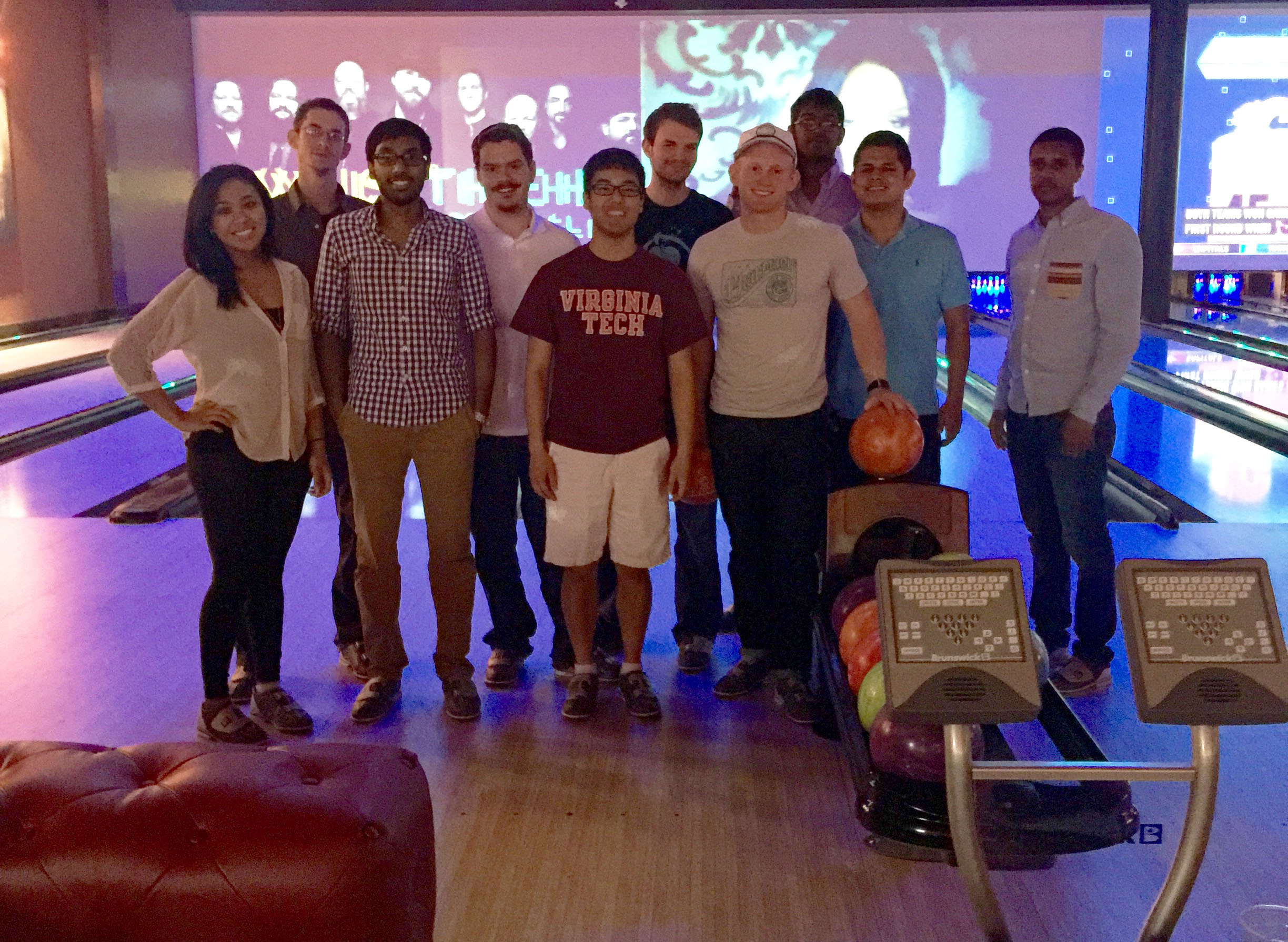 Students in a recent NetApp Transitions program participate in a team building activity at a Blacksburg bowling alley.