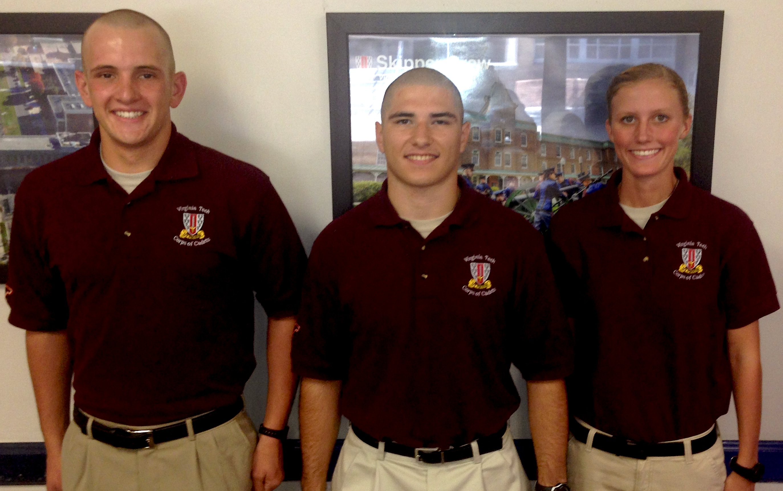 From left to right are Cadets Benjamin Scholz, Brandon Robertello, and Megan Crouch.