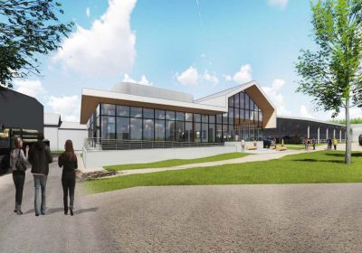 Artist rendering of new bovine extension, teaching, and research facility.